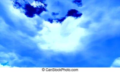 Fine weather cloudscape on blue sky