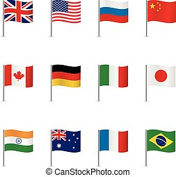 World flags. Vector set. - World flags isolated on white...