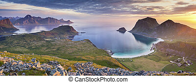 Norway - Panoramic view of Lofoten Islands, located in...