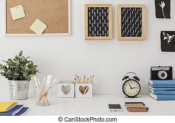 Stylish desk with designed equipment - Close-up of stylish...
