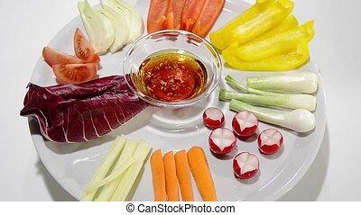 pinzimonio - raw vegetables on a white background