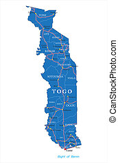 Togo map - Highly detailed vector map of Togo with...
