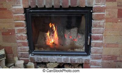 beautifully lit fireplace