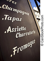 Bistro - Signs on the facade of an old Parisian bistro