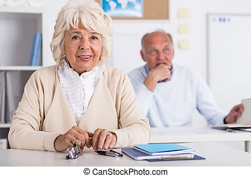Two seniors at university - Two seniors are learninig at...