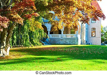 Luxury house at autumn