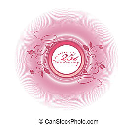 25th anniversary with floral halftone background,...