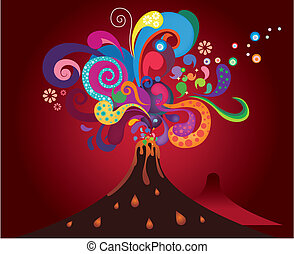 erupting volcano - eruption of abstract volcano background