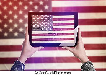 Taking Picture of USA Flag with Digital Tablet - Person...