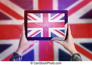 Taking Picture of United Kingdom Flag with Digital Tablet -...