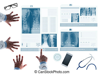 Medical, team, examining, patient's, medical, records, on,...