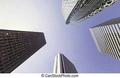 Skyscrapers of Shinjuku, Tokyo,looking up - Looking up at...