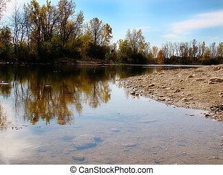 lake - a pretty lake shore with reflection...