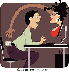 Internet dating scam - Voluptuous woman attempting to steal...