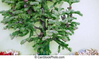 Christmas tree with cones on a white background not...