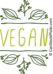 Vegan product label on white background - Hand-sketched...
