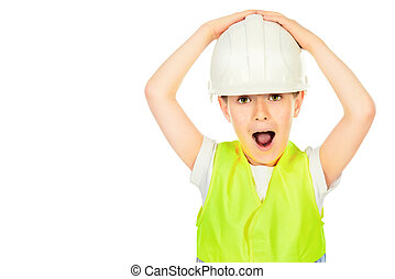 constuctor emotion - Cute boy in a costume of a builder...