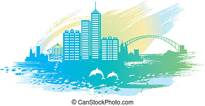 seaside city background.