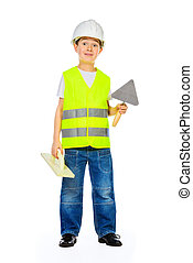 helmet boy - A boy in a costume of a builder posing with...