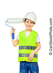 kid painter - A boy in a costume of a builder posing with...