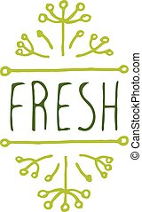 Fresh - product label on white background - Hand-sketched...