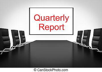 conference room with large whiteboard quarterly report -...