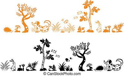 tree and animals