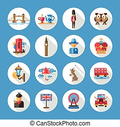 Set of flat design England travel icons, infographics elements with landmarks and famous London, United Kingdom symbols