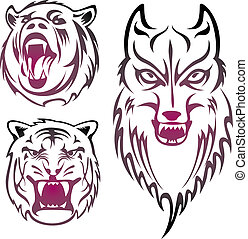 animal heads - three wild animal head pattern design.