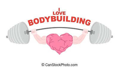 I love bodybuilding. A symbol of a strong heart with big...