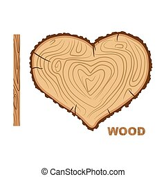 I love wood Cutting tree as a symbol of heart Vector...