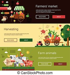 Set of modern flat design farm and agriculture icons, elements flyer templates