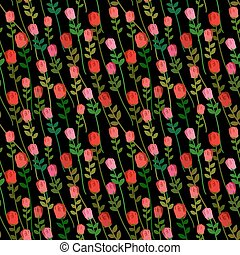 Red Roses on a black background seamless pattern. Vector...