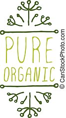 Pure organic - product label on white background.