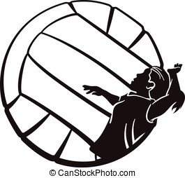 Volleyball Girl Spiking - Silhouette of a female volleyball...