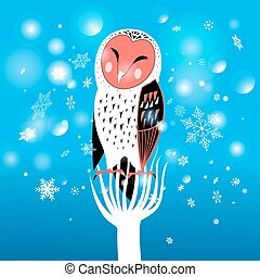 Christmas owl - Funny Christmas owl on a snowy background