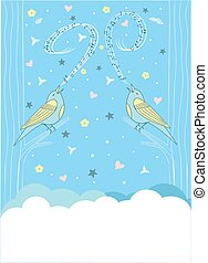 song bird - Greeting card with a bird sitting on a branch.