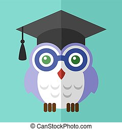 Graduation owl student icon flat sign symbol logo label