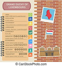 Luxembourg infographics, statistical data, sights Vector...