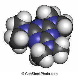 Altretamine cancer drug molecule Atoms are represented as...