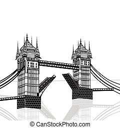 Tower Bridge, London vector hand drawn illustration