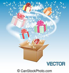 Open cardboard box with an a gifts.Vector