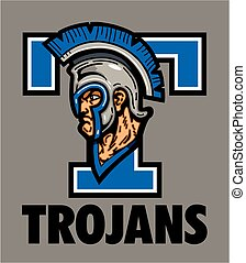 trojans school design with mascot head wearing helmet with...