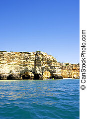 Rock cliff arches , Marinha beach ,Portugal