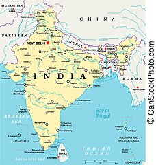India Political Map - India political map with capital New...