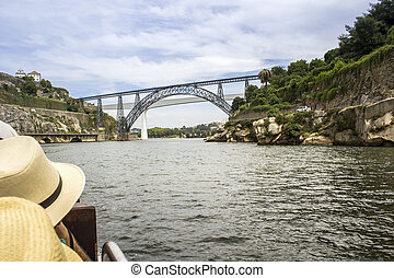 Panoramic fom Douro river tour boat, view of Maria Pia and...