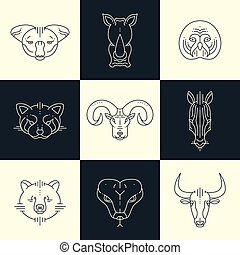 Set of animals linear flat icons, labels, illustrations for...