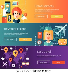 Set of flat design flyers and headers with travel, tourism, leisure icons, infographics elements