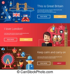 Set of flat design flyers and headers with Great Britain travel, tourism icons, infographics elements