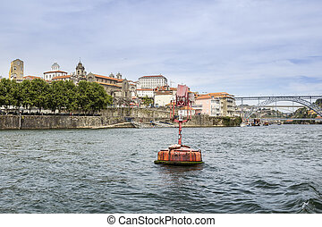 Panoramic fom Douro river tour boat, view of Dom Luiz...